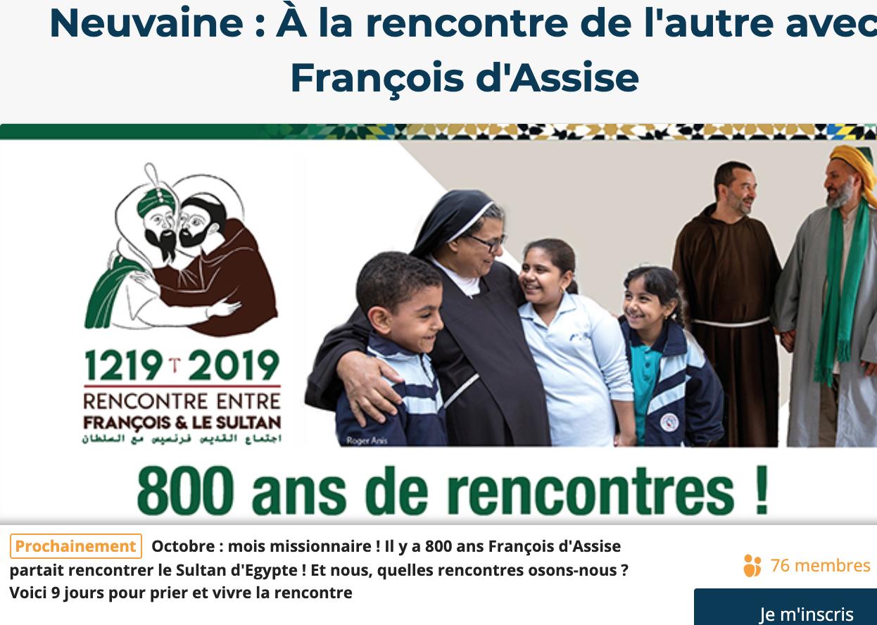 Neuvaine : à la rencontre de l'autre avec St François d'Assise du 18 au 26 octobre