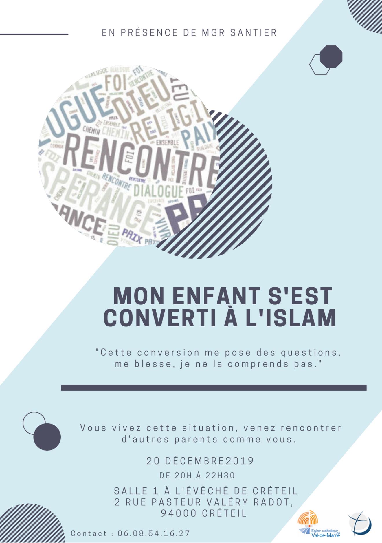 Mon enfant s'est converti à l'islam : temps de partage fraternel, le 20 décembre