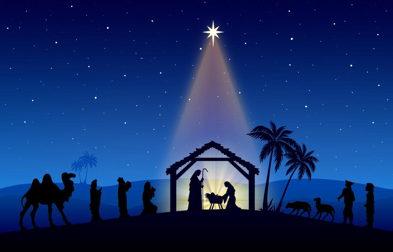 Christmas Nativity Scene black silhouette on blue background