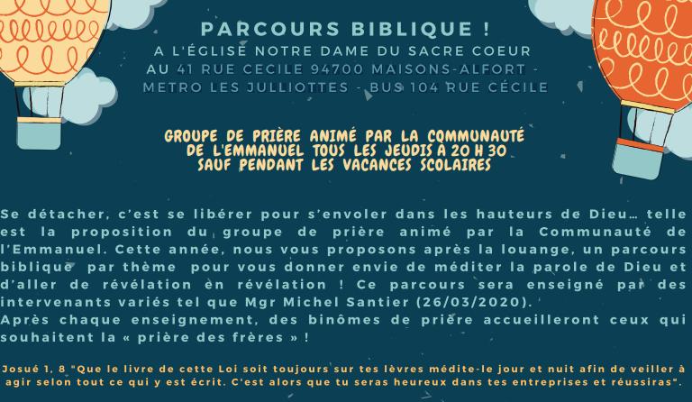Parcours biblique : groupe de prière animé par la Communauté de l'Emmanuel