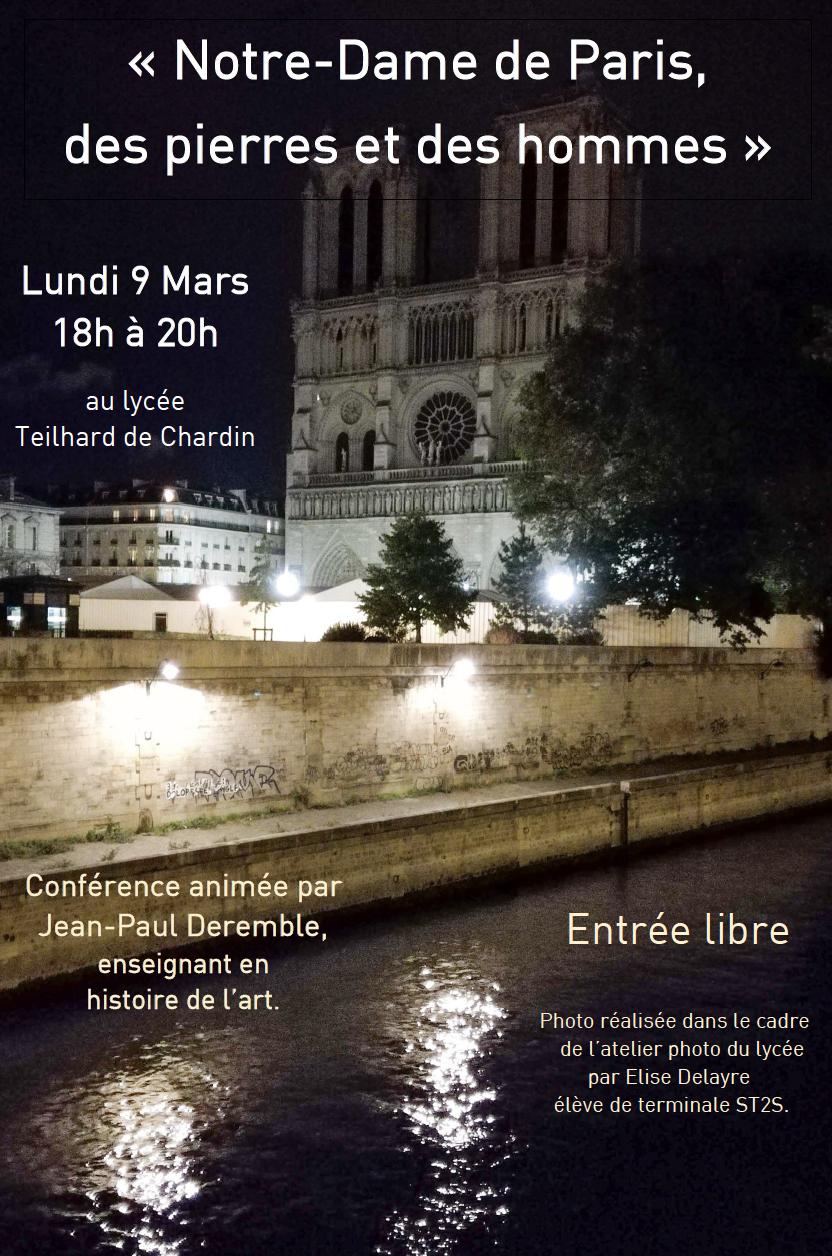 Conférence : Notre-Dame de Paris, des pierres et des hommes le lundi 9 mars