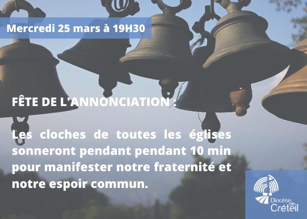 Mercredi 25 mars, fête de l'Annonciation : les cloches des églises sonneront à 19h30 !