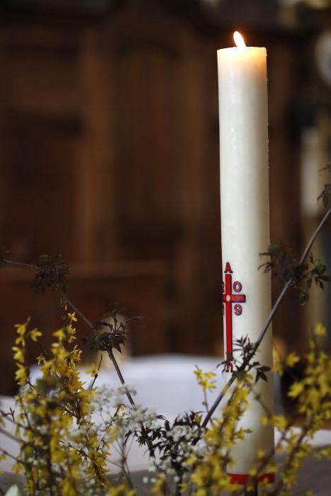 The Paschal candle.  Saint-Nicolas de Veroce church. France.