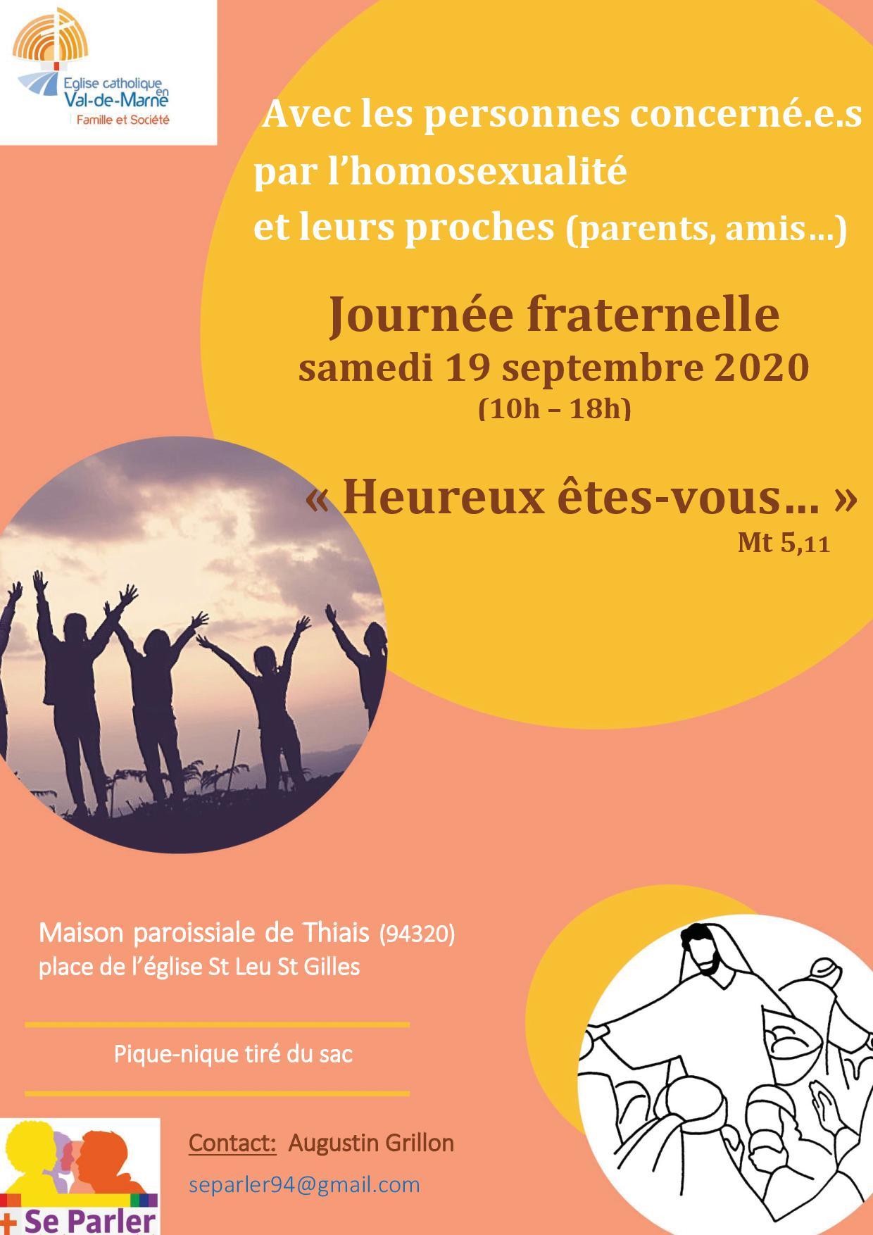Journée fraternelle samedi 19 septembre  avec les personnes concernées par l'homosexualité et leurs proches