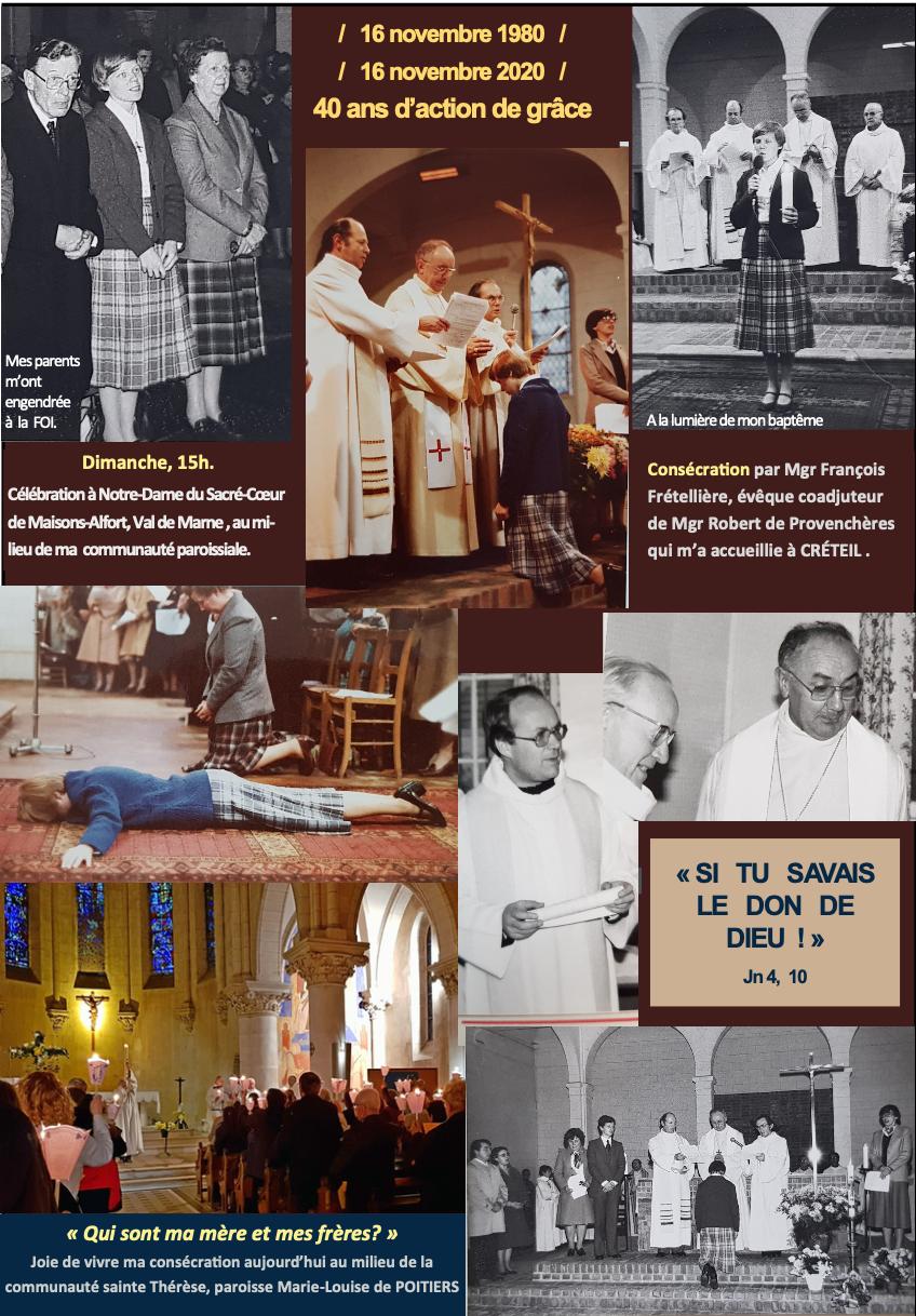 40 ans de vie consacrée au Christ : anamnèse diocésaine d'Isabelle Parmentier