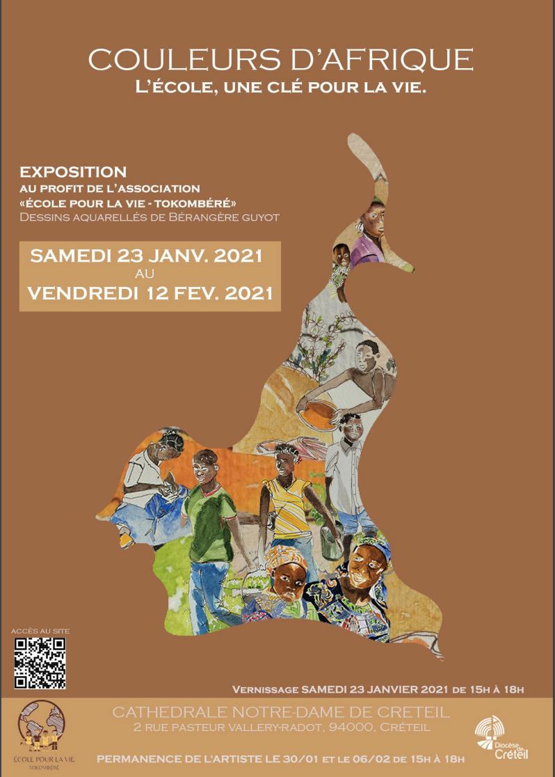 Exposition de dessins aquarelles pour l'association Ecole pour la vie à Tokombéré