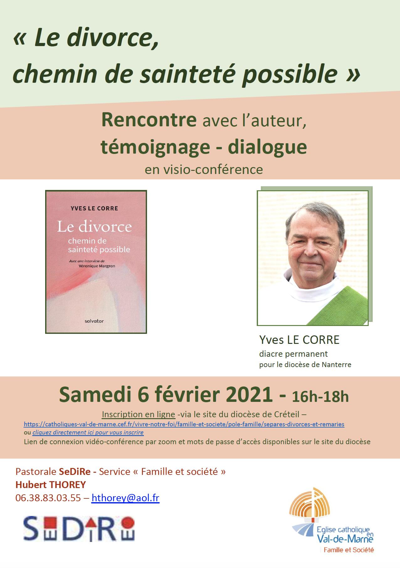 """Visio-conférence : rencontre avec Yves Le Corre auteur de """"Le divorce, chemin de sainteté possible"""" - le 6 février 2021"""