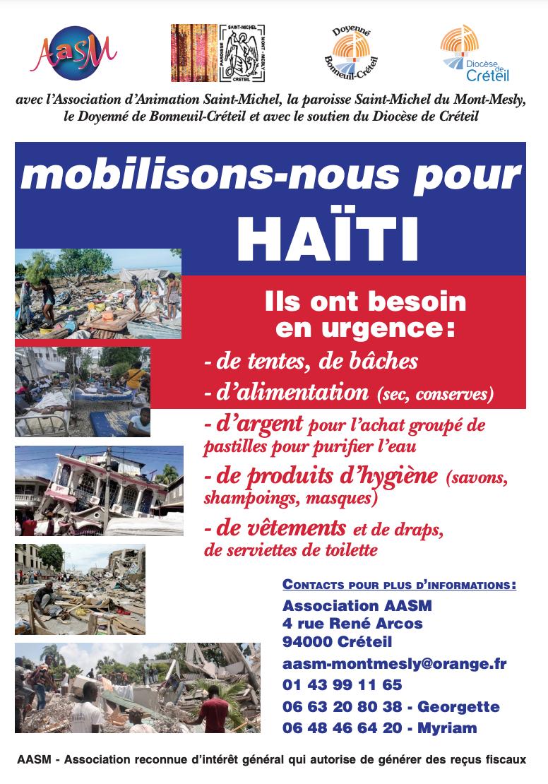 Séïsme en Haïti : collecte de produits de première nécessité en aide aux sinistrés