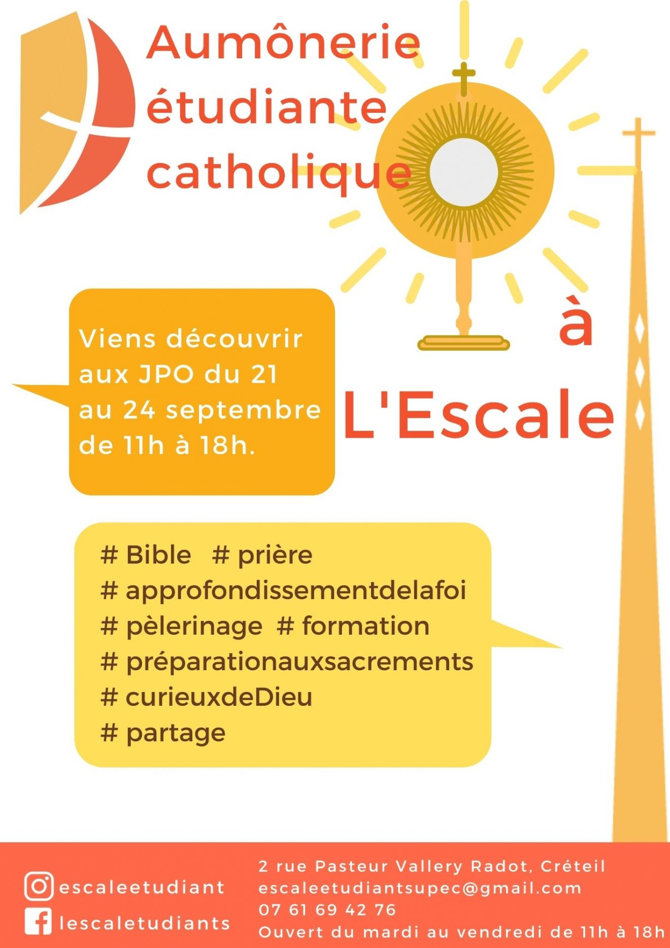 Portes Ouvertes de l'aumônerie catholique étudiante du 21 au 24 septembre 2021